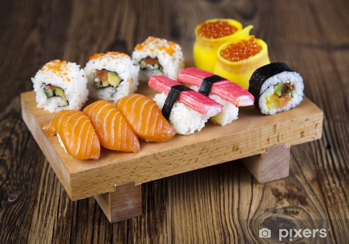 Vinyl-Fototapete Sushi traditionelle japanische Küche - Sushi