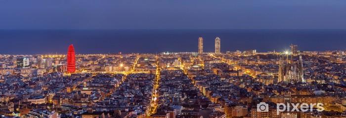 Vinyl Fotobehang Barcelona skyline panorama bij nacht - Thema's