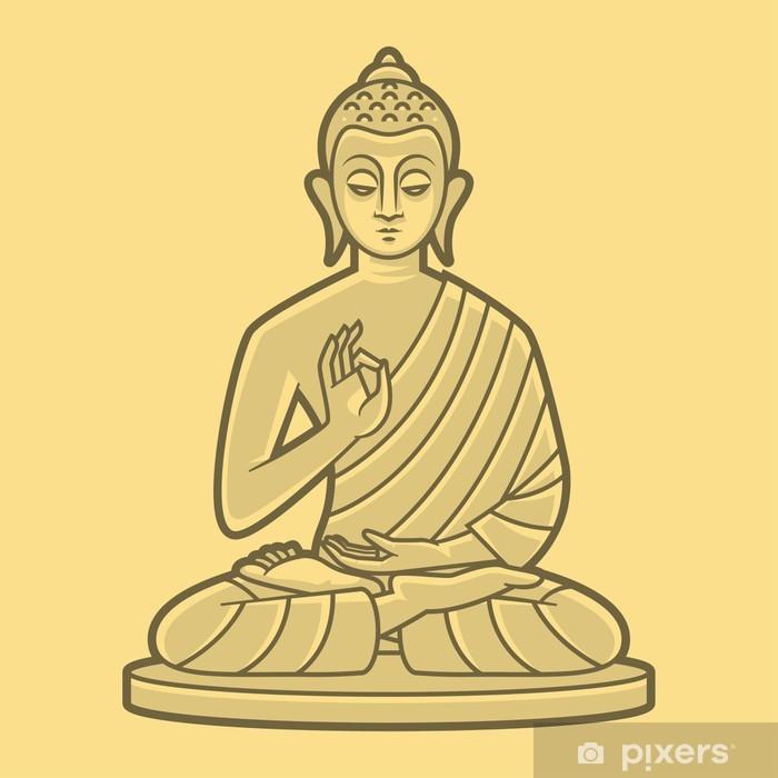 Sticker Pixerstick Bouddha médite - Thèmes