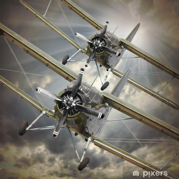 Sticker Pixerstick Image de style rétro des biplans. thème des transports. -
