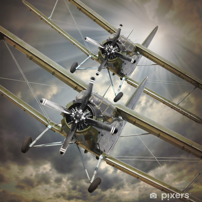 Retro style picture of the biplanes. Transportation theme. Vinyl Wall Mural -