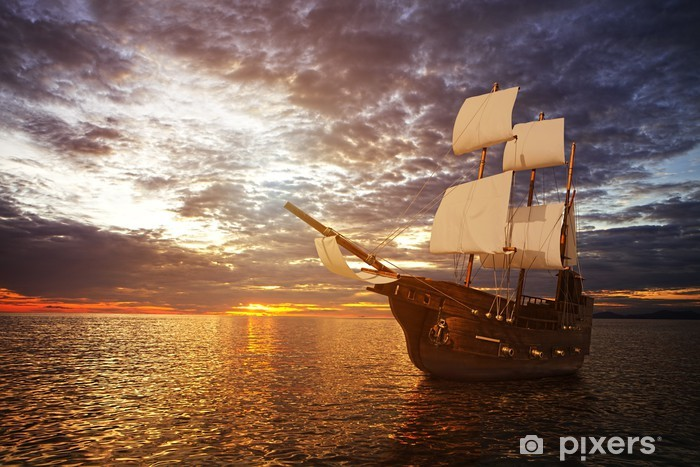 The ancient ship in the sea Pixerstick Sticker - Sea and ocean