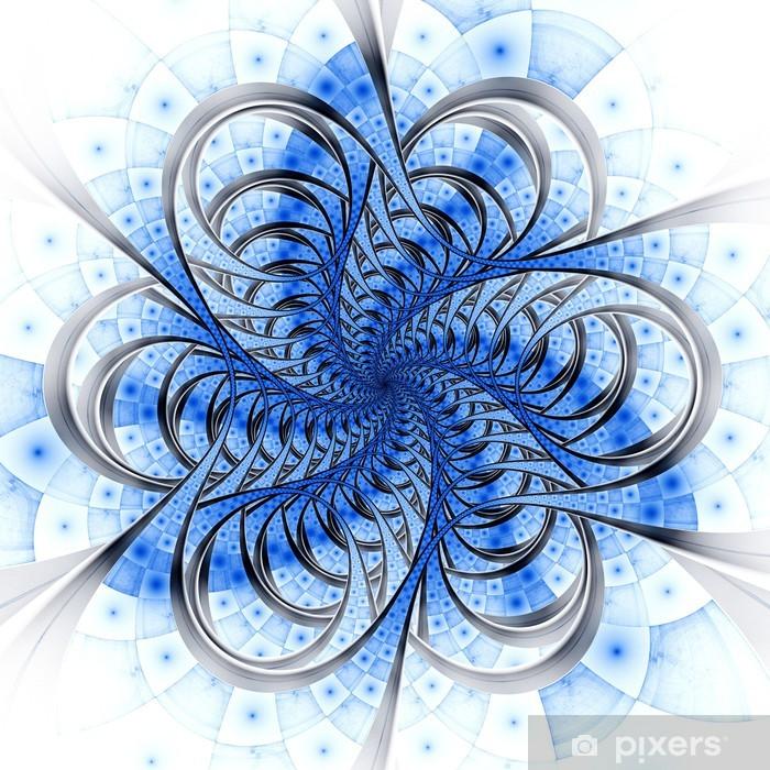 Plakát Modré světlo fraktální linky, digitální umělecká díla - Abstraktní