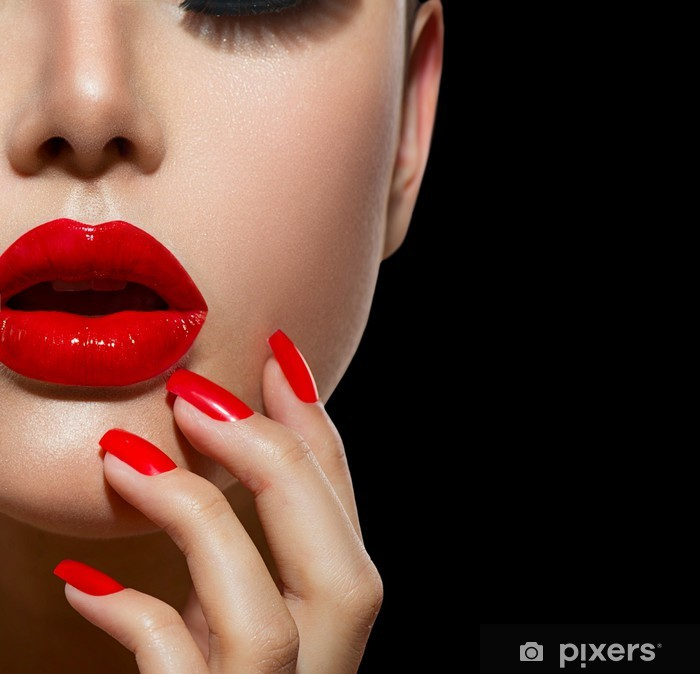Red Sexy Lips and Nails closeup. Manicure and Makeup Vinyl Wall Mural - Themes