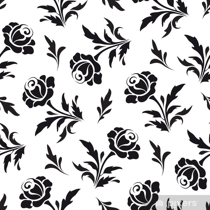 Black Flowers On White Seamless Floral Pattern Wall Mural Pixers