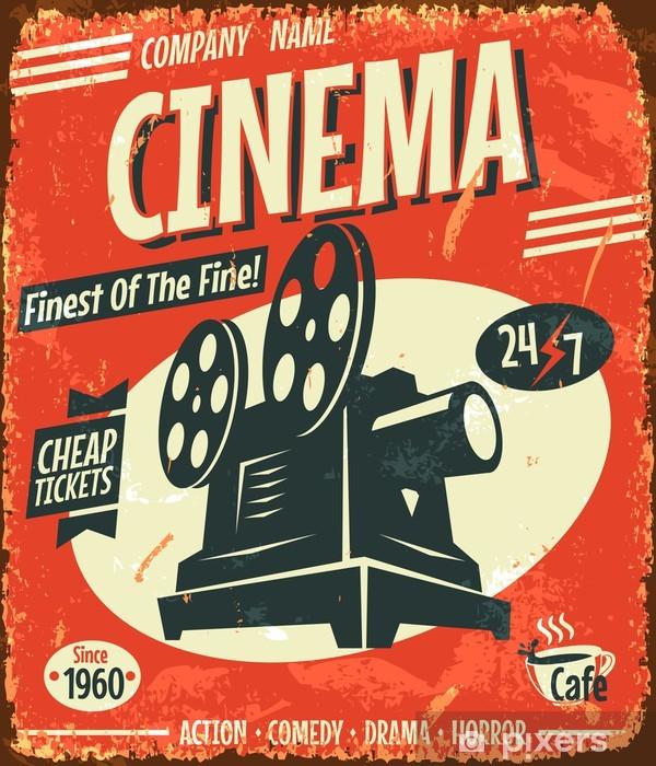 Grunge retro cinema poster. Vector illustration. Pixerstick Sticker - Styles