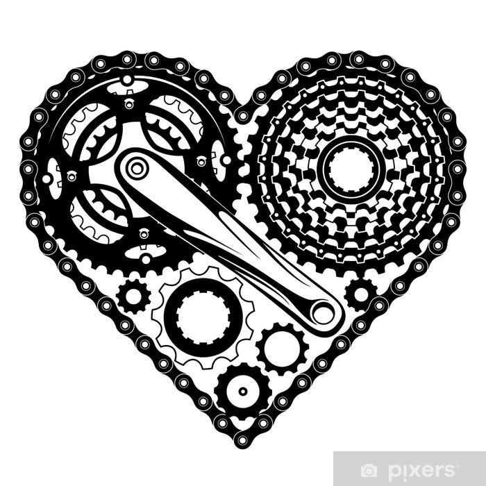 bicycle parts heart Wall Mural - Vinyl