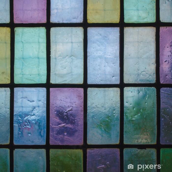 Naklejka Pixerstick Kolorowy witraż z bloku tonu niebieski zielony wzór - Tekstury