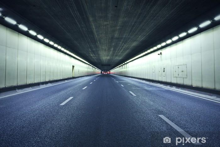Vinyl-Fototapete Der Tunnel in der Nacht, die Lichter gebildet eine Linie. - Themen