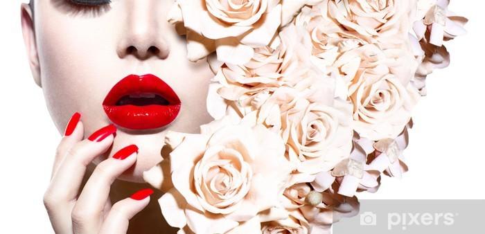 Fototapeta winylowa Moda Sexy Kobieta z kwiatami. Vogue styl modelu - Tematy