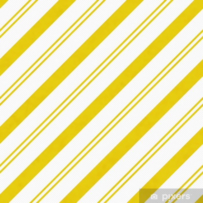 Naklejka Pixerstick Żółty przekątnej paski teksturowanej tle tkaniny - Tła