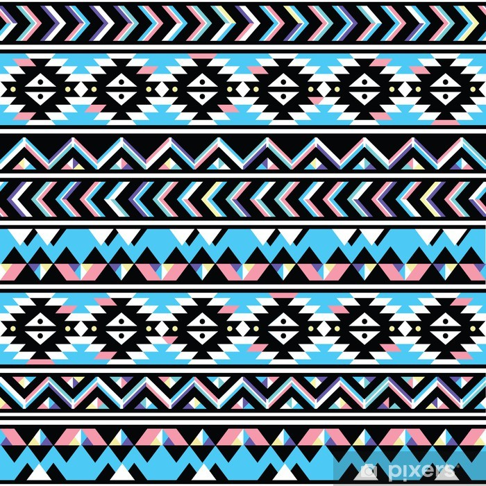 Tribal aztec seamless blue and pink pattern Poster - Styles