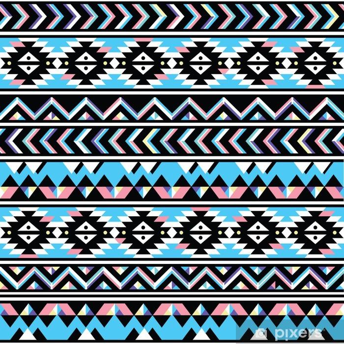 Pixerstick Sticker Stammen Azteekse naadloze blauw en roze patroon - Stijlen