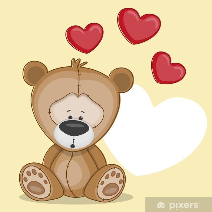 Sticker Pixerstick Ours avec coeur - Pour bébé