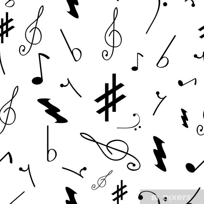 Pixerstick Sticker Naadloos patroon met verschillende muziek symbolen - Grafische Bronnen