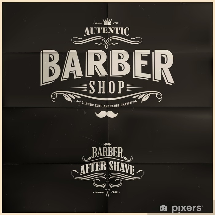 Vintage Barber Shop Badges Vinyl Wall Mural - Destinations