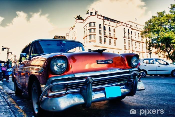 Vinil Duvar Resmi Küba eski arabalar -