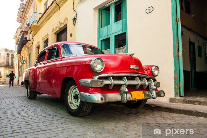 Fototapeta winylowa Kubańska stare samochody - Kuba