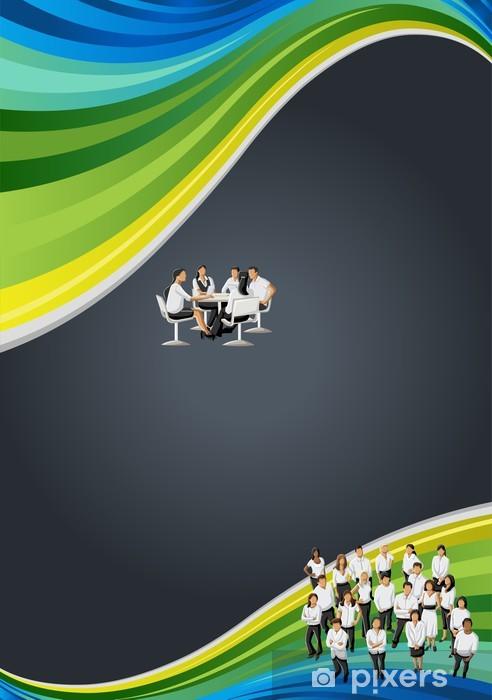 Naklejka Pixerstick Czarny, niebieski i zielony szablon z ludzi biznesu - Sytuacje biznesowe