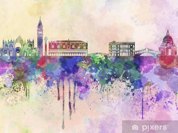 Sticker Pixerstick Venise horizon dans le fond d'aquarelle -