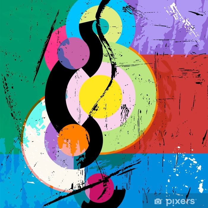 abstract circle background, retro/vintage style with paint strok Poster - Art and Creation