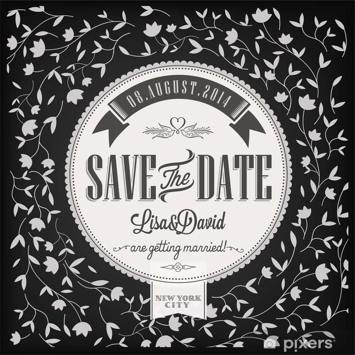 Pixerstick Aufkleber Save The Date Hochzeitseinladungskarte auf Tafel mit Kreide - Feste