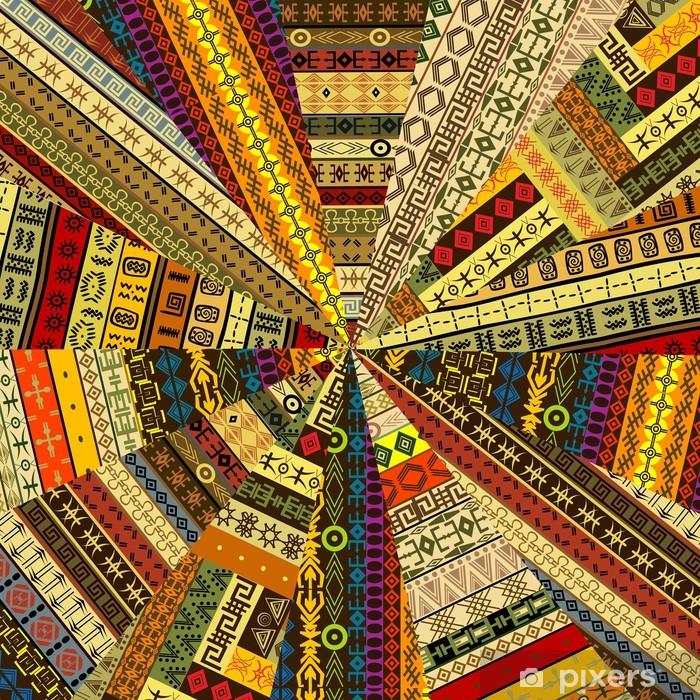 Nálepka Pixerstick Sunburst z patchwork textilie witf etnických motivů - Pozadí