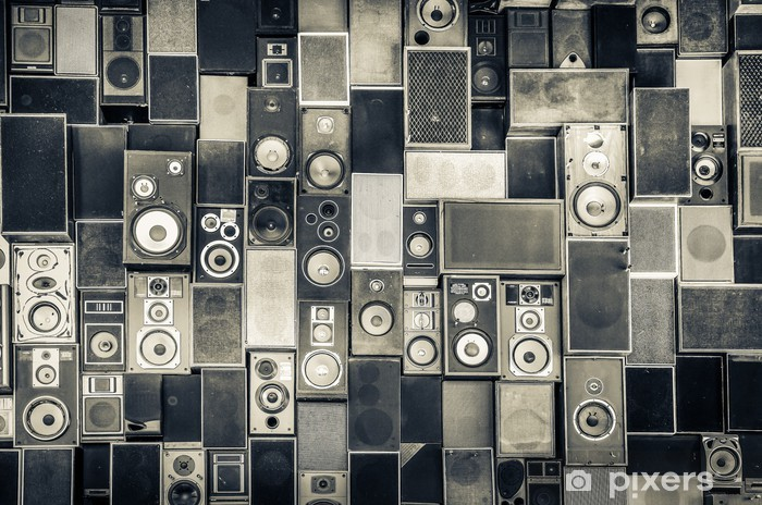 Music speakers on the wall in monochrome vintage style Pixerstick Sticker - iStaging