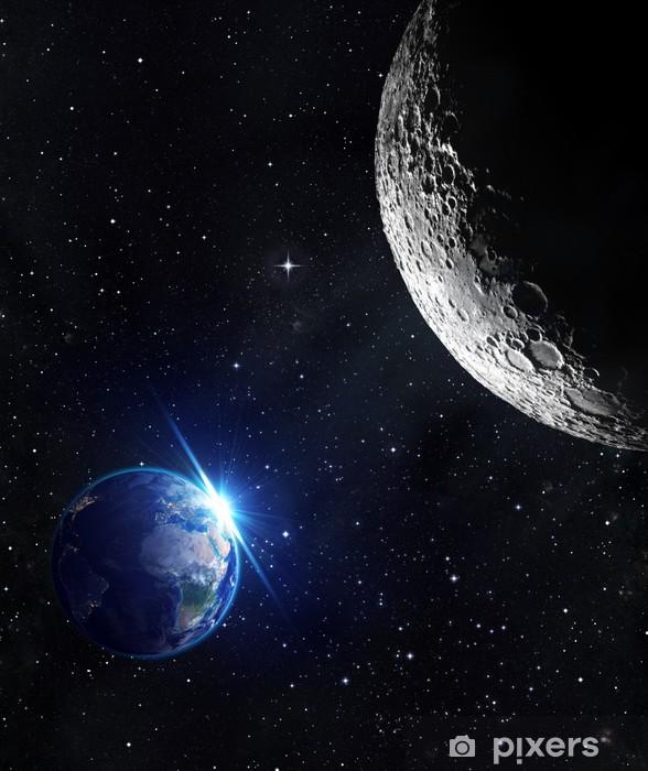 Naklejka Pixerstick Widok z księżyca - wschód słońca na ziemi - Wszechświat