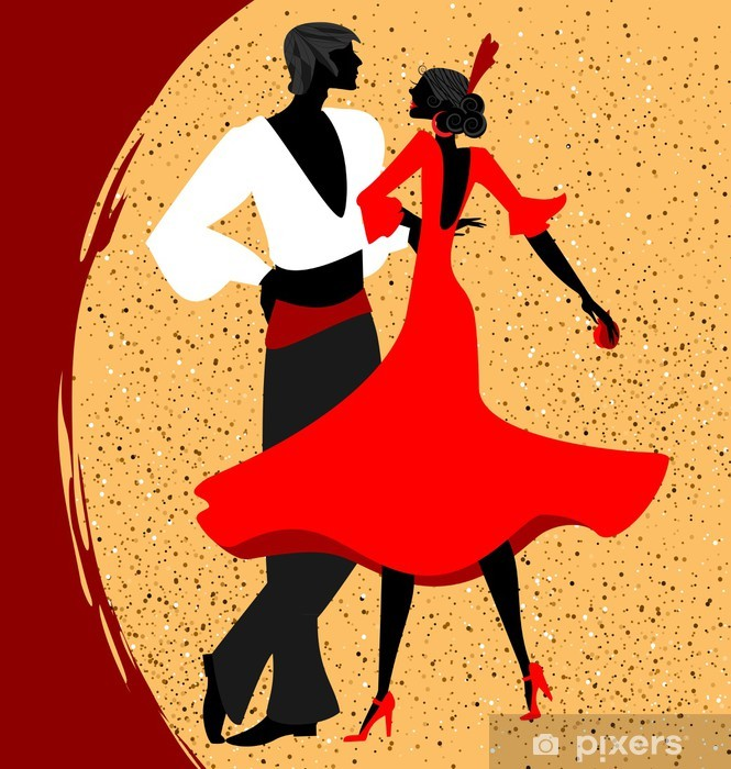 Fototapet av Vinyl Par flamenco dansare - Teman