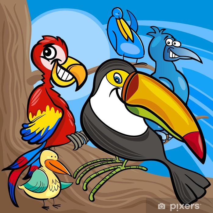 Cute Birds Group Cartoon Illustration Wall Mural Pixers We Live To Change