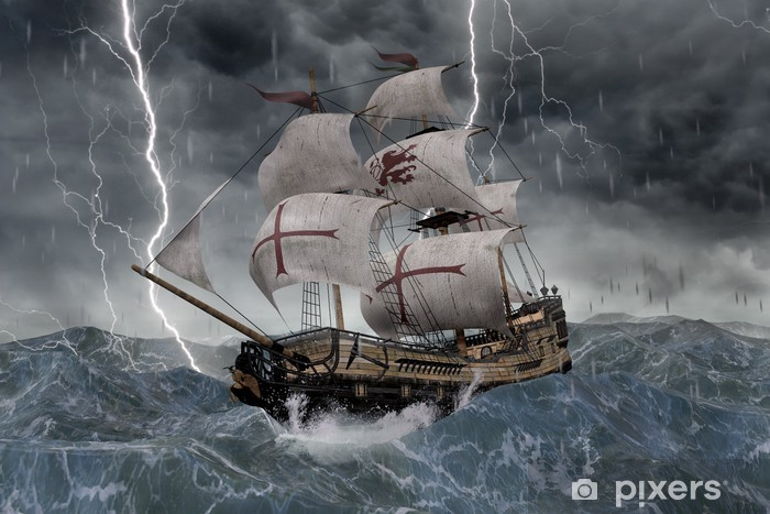 Vinilo Pixerstick 3D Segelschiff Galeone en stürmischer Ver - Barcos