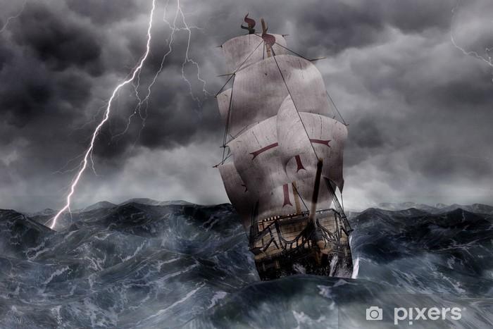 3D Segelschiff Galeone in stürmischer See Pixerstick Sticker - Boats