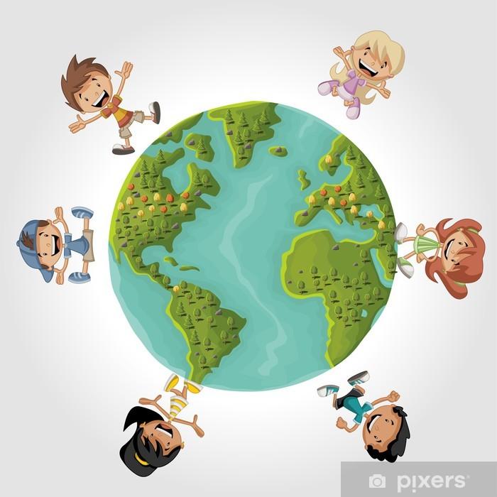 Sticker Mignons De Dessin Animé Enfants Heureux Sur La Planète Terre Pixerstick