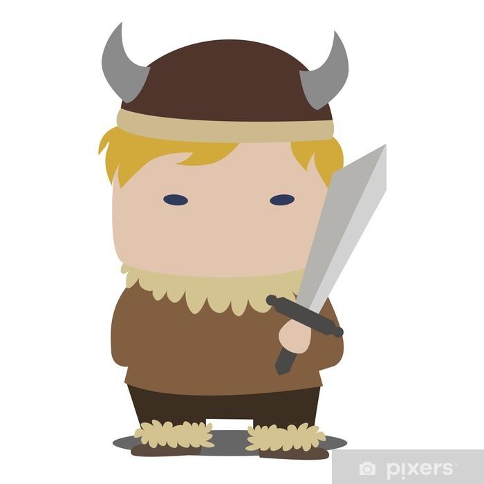 Sticker Pixerstick Dessin animé viking - Hommes