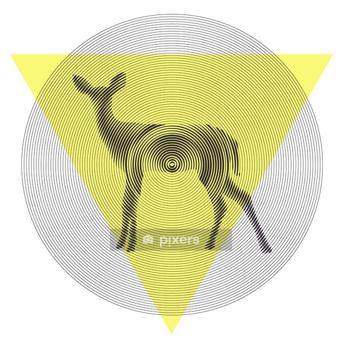 Vector deer in tiangle and circle Wall Decal - Science & Nature