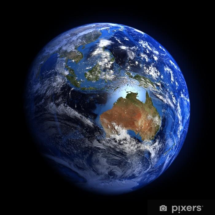 sticker de aarde vanuit de ruimte blijkt australië en indonesië