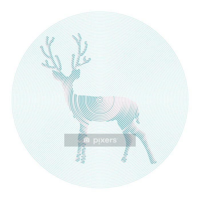 Vector deer with horns - abstract illustration Wall Decal - Science & Nature