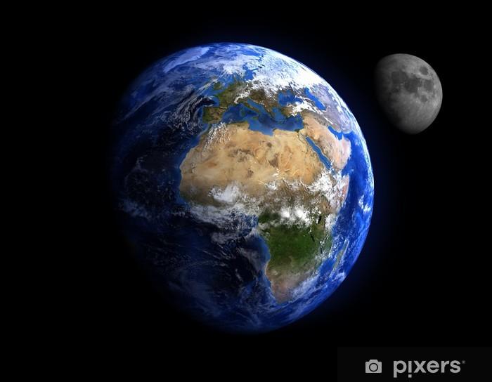 Sticker Pixerstick La Terre et la Lune. - Terre