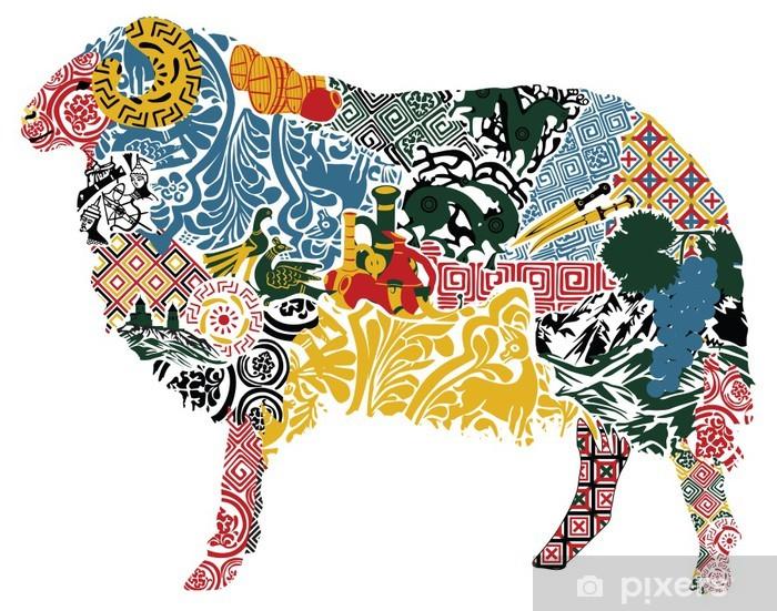 Papier peint vinyle Moutons dans le motif géorgien - Moyen Orient
