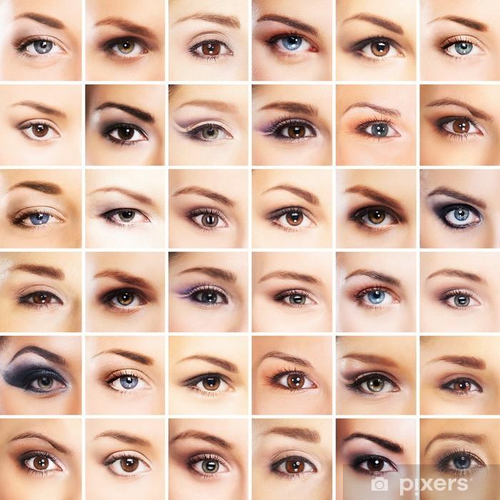 Vinyl Fotobehang Een verzameling van vele vrouwelijke ogen met verschillende make-up - Lichaamsdelen