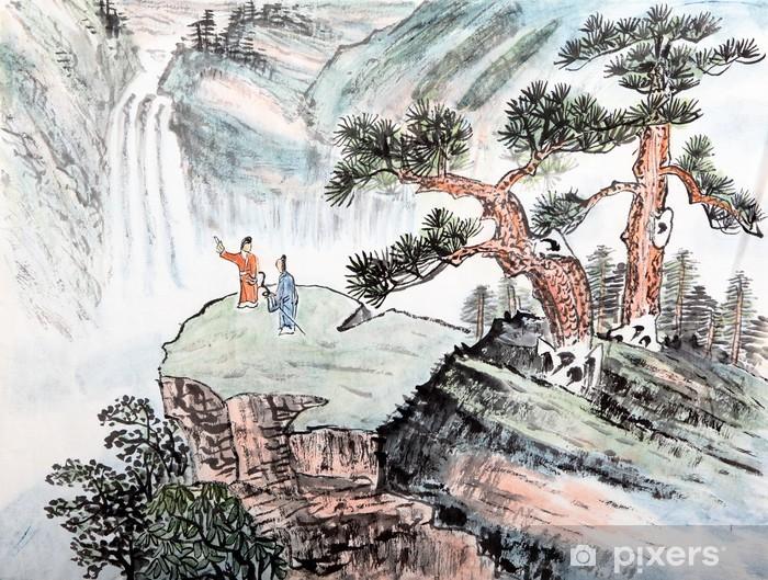 Pixerstick Sticker Traditionele Chinese schilderkunst, landschap - Bergen