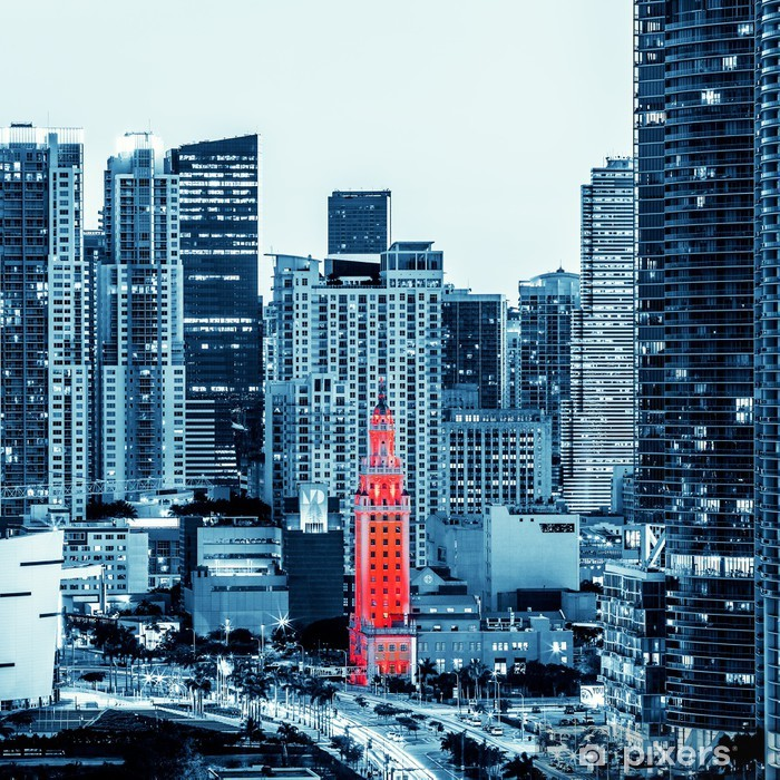 View of Miami downtown Pixerstick Sticker - Themes