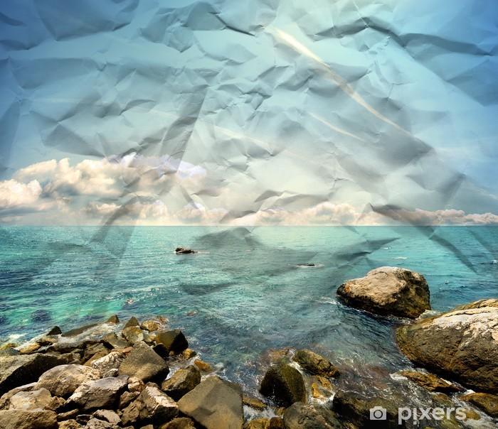 Poster Steiniger Strand auf Papier Textur - Texturen