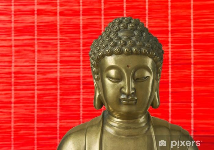 Sticker Pixerstick Golden Buddha est sur le fond rouge - Thèmes