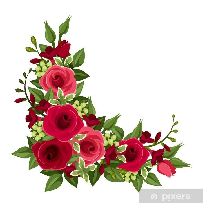 Vinilo Pixerstick Esquina Rosas Rojas Ilustracion Del Vector