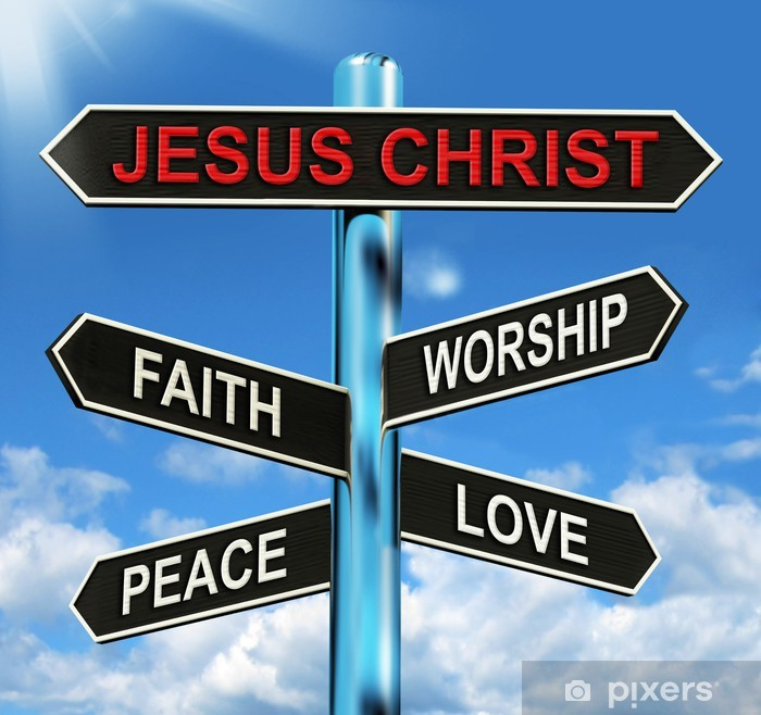 Jesus Christ Signpost Means Faith Worship Peace And Love Vinyl Wall Mural - Signs and Symbols