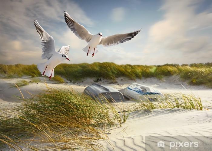 Naklejka Pixerstick Mewy, wydmy i łodzie rybackie - Lato
