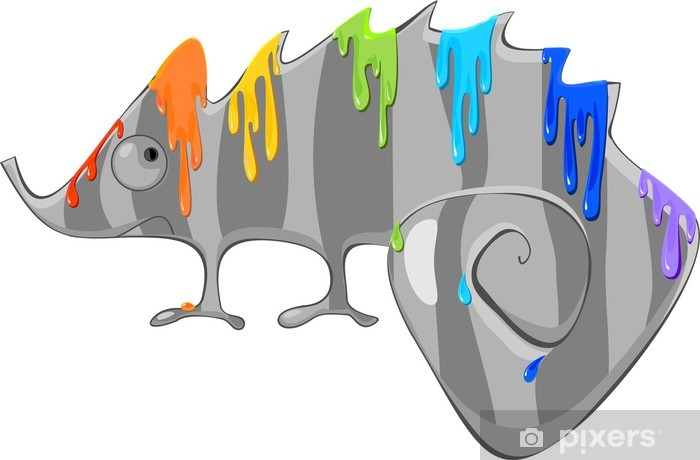 Vinyl-Fototapete Chameleon Grau-und Regenbogenfarbe - Andere Andere