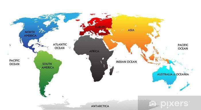 Cartina Del Mondo Con Continenti.Carta Da Parati In Vinile Mappa Del Mondo Con Continenti Evidenziati